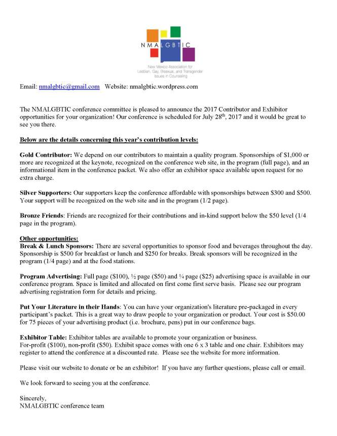 2017 NMALGBTIC Exhibitor Annoucement Letter